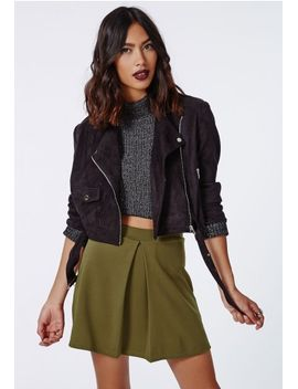 rene-front-pleat-a-line-skirt-khaki by missguided