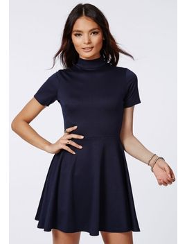 kerry-high-neck-skater-dress-navy by missguided