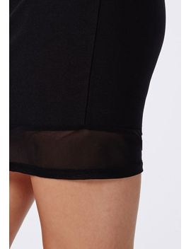 masa-mesh-&-crepe-bodycon-racer-back-dress-black by missguided