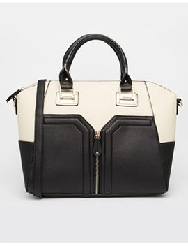 new-look-black-contrast-zip-front-tote-bag by new-look