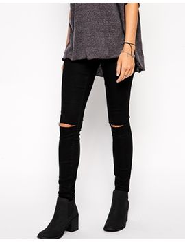 asos-jameson-low-rise-denim-jeggings-in-clean-black-with-ripped-knees by asos-collection