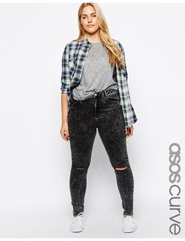 asos-curve-ridley-skinny-jean-in-smoked-black-with-2-rips by asos-curve