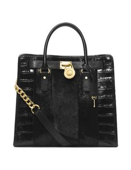 hamilton-large-hair-calf-and-embossed-leather-tote by michael-kors