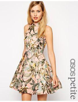 asos-petite---robe-patineuse-structurée-à-col-montant-et-imprimé-tropical by asos-petite