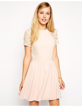 asos---robe-patineuse-avec-manches-et-superposition-en-dentelle by asos-collection