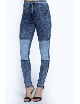 ciara-acid-wash-patchwork-high-rise-skinny-jeans by boohoo