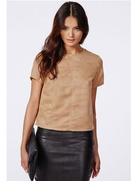 dena-suede-shell-top-taupe by missguided