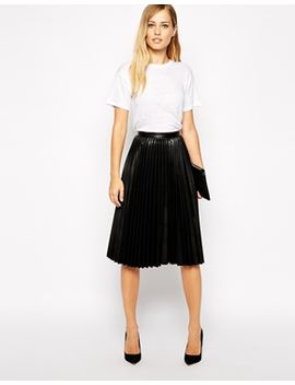 whistles-sora-skater-skirt-in-faux-leather by whistles