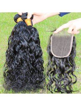 free-part-lace-closure-with-4pcs-hair-bundles-5a-peruvian-virgin-hair-wet-water-wave-with-lace-closure-natural-black-color by ali-express
