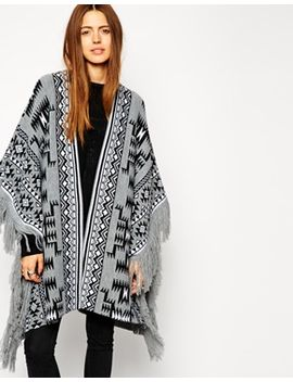 asos-blanket-cape-in-pattern-with-fringing by asos-collection
