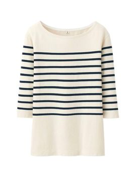 women-pure-blue-japan-stripe-crew-neck-3_4-sleeve-length-t by uniqlo