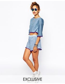 milk-it-vintage-high-waisted-denim-shorts-with-pom-pom-detail-co-ord by milk-it