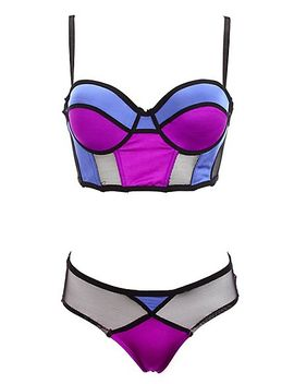 mesh-&-color-block-bra-&-panty-set by charlotte-russe