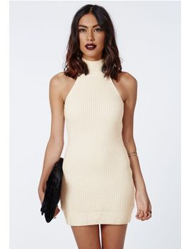 alarna-racer-neck-knitted-dress-cream by missguided