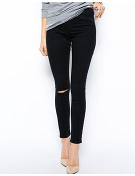 asos-jameson-low-rise-denim-jeggings-in-washed-black-with-ripped-knee by asos-collection