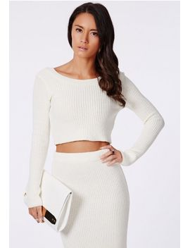 casey-knit-scoop-neck-crop-top-cream by missguided