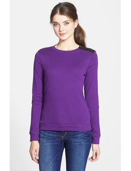 faux-suede-trim-shoulder-zip-boatneck-top by lauren-ralph-lauren