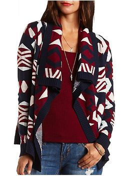 aztec-cascade-cardigan-sweater by charlotte-russe