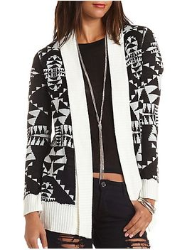 aztec-open-cardigan-sweater by charlotte-russe