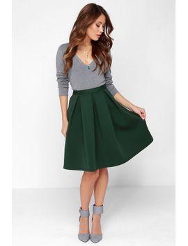 perfect-balance-dark-green-pleated-midi-skirt by lulus