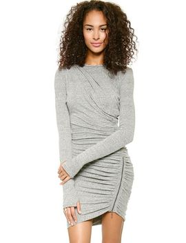 grey-long-sleeve-zipper-slim-bodycon-dress by sheinside