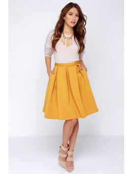 perfect-balance-mustard-yellow-pleated-midi-skirt by lulus