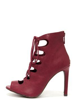 rebeca-21-wine-peep-toe-lace-up-heels by lulus