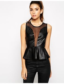 for-love-&-lemons-lulu-faux-leather-top by top