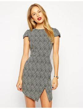asos-shift-dress-in-crepe-stripe-print-with-asymmetric-hem by asos-collection