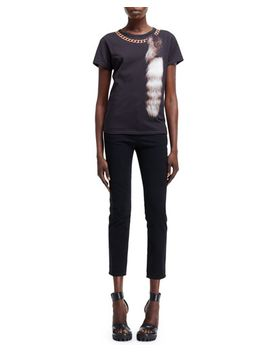 fox-tail-&-chain-optic-print-tee-and-high-waist-cropped-pants by alexander-mcqueen