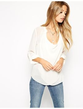 asos-top-with-detail-front-and-drape-neck by asos-collection