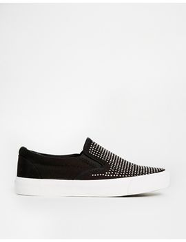 new-look-mingle-black-embellished-slip-on-sneakers by new-look