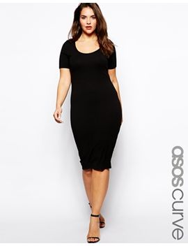 asos-curve-exclusive-midi-body-conscious-dress-with-short-sleeves by asos-curve