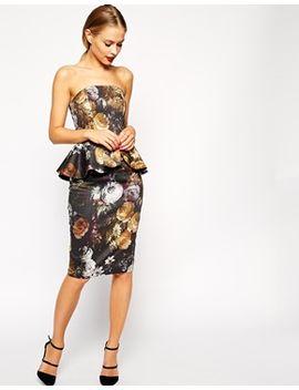 asos-smokey-floral-peplum-dress by asos-collection