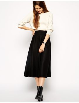 asos-midi-circle-skirt-in-brushed-wool-mix by asos-collection