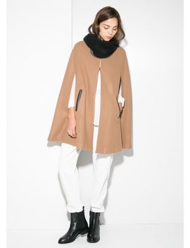 trimmed-wool-blend-cape by mango