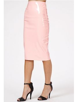 mircia-pvc-midi-skirt-in-baby-pink by missguided