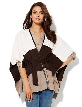 colorblock-faux-leather-trim-blanket-wrap by new-york-&-company