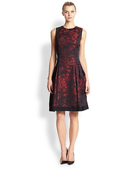 croc-pattern-two-tone-party-dress by carmen-marc-valvo
