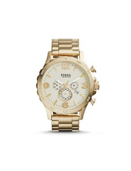 nate-chronograph-stainless-steel-watch-–-gold-tone  					 						new by fossil