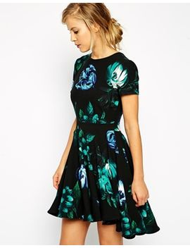 asos-skater-dress-with-dipped-hem-in-blue-floral-print by asos-collection