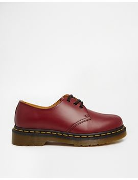 dr-martens-1461-cherry-red-3-eye-flat-shoes by dr-martens