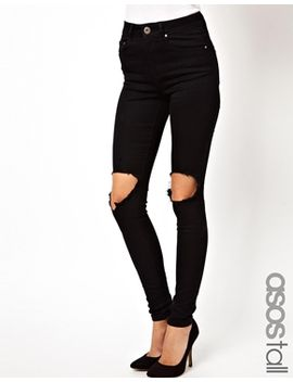 asos-tall-ridley-high-waist-ultra-skinny-jeans-with-busted-knee by ultra-skinny-jeans