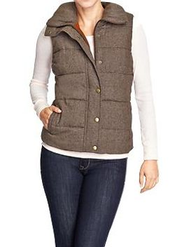 womens-quilted-tweed-vests by old-navy