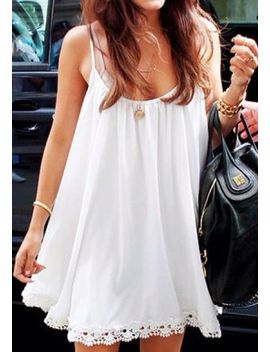 crochet-hem-dress---white by lookbook-store