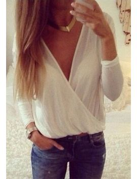 mesh-shell-v-neck-shirt---white by lookbook-store