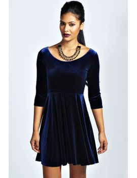 melissa-velvet-skater-dress by boohoo