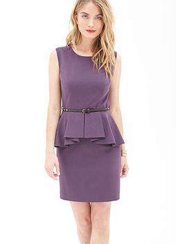 belted-peplum-dress by forever-21