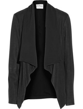 dknypure-brushed-leather-and-jersey-jacket by dkny