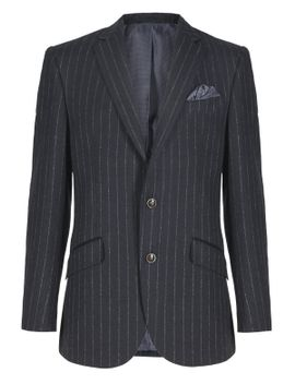 pure-new-wool-tailored-fit-2-button-striped-jacket by marks-&-spencer